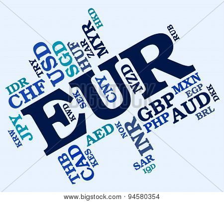 Euro Word Means Worldwide Trading And Banknote
