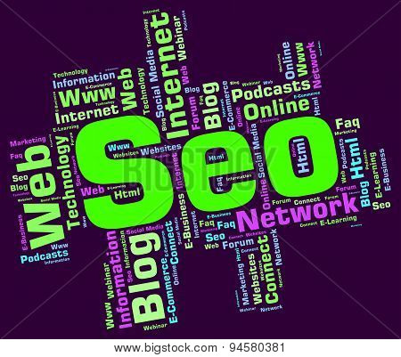 Seo Word Means Wordcloud Website And Optimization