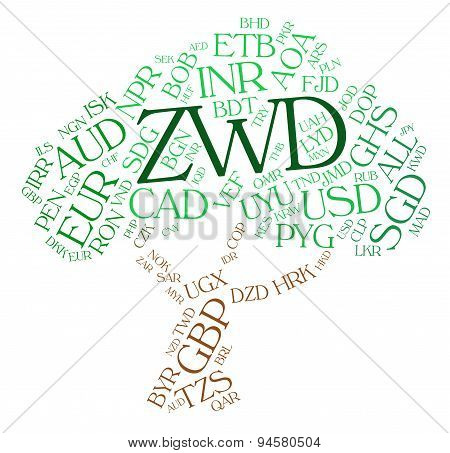 Zwd Currency Means Zimbabwe Dollars And Coinage