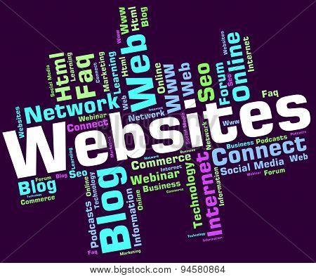 Websites Word Represents Network Internet And Wordcloud