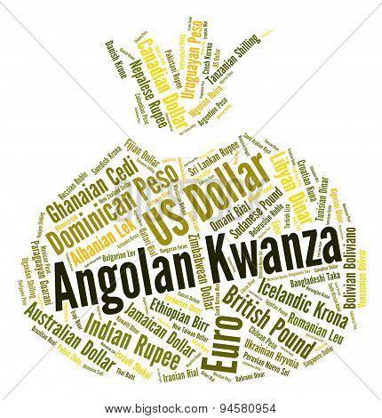Angolan Kwanza Indicates Exchange Rate And Aoa