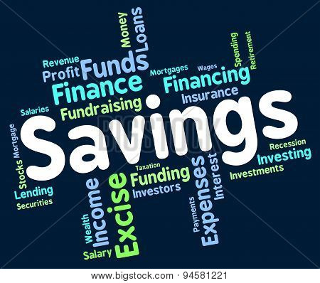 Savings Word Means Save Wealth And Monetary