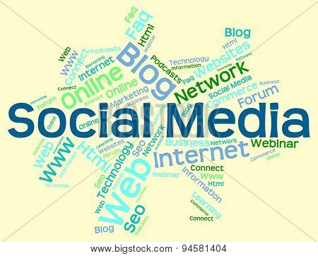 Social Media Shows Wordcloud Word And Internet