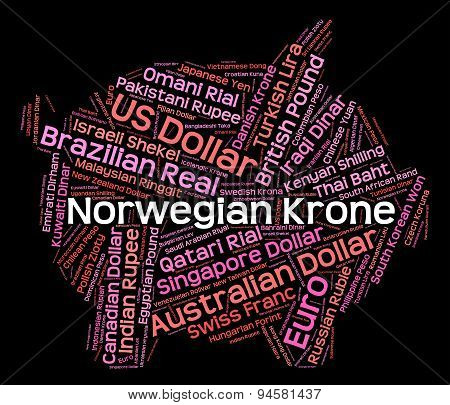 Norwegian Krone Means Currency Exchange And Coinage