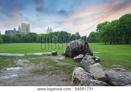 Central Park Sunset In New York City