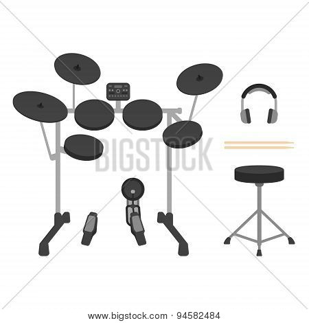 Electronic Drum Set, Headphones, Drumsticks and Drum Throne