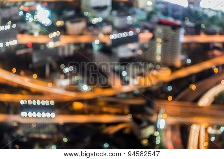 Bokeh of aerial view of complex highway interchange
