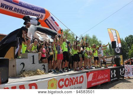 Team Of A Running Competition On The Stage Before The Beggining