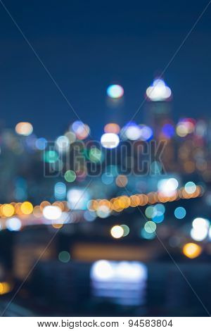 Abstract city bokeh lights during blue hours