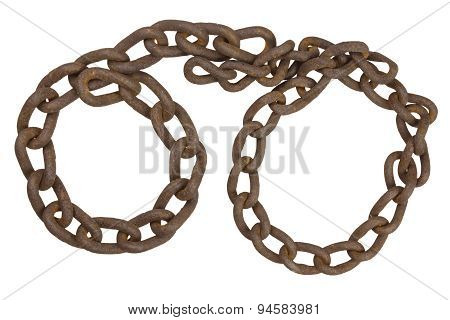 Old rusted chain in the shape of handcuffs. Handcuffs of the old chain.