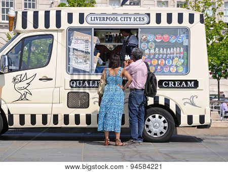 People at ice cream van, Liverpool.