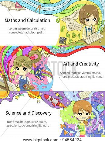 Stylish Colorful Info graphic Cartoon Girl Children Studying Maths And Calculation, Art Creativit