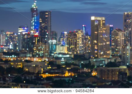 Bokeh of Bangkok city skyline during twilight