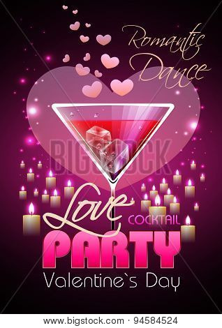 Valentine Disco Poster With Hearts And Cocktails