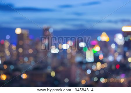 Abstract blur bokeh of city skyline at twilight time
