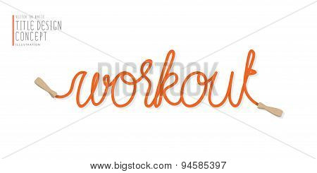 Workout Title Design From Jump Rope Flat Vector.