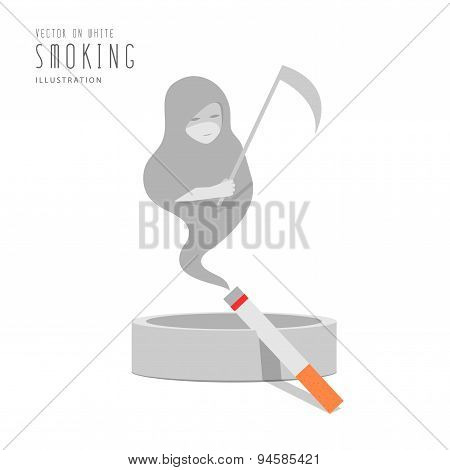 Cigarette On The Ashtray The Smoke Is The God Of Death Flat Vector.