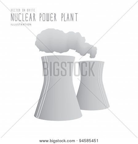 Nuclear Power Plant Flat Vector.