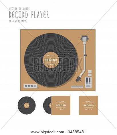 Top View Of Record Player And Platter Action With Cover Flat Vector.