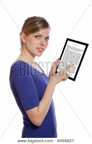 Woman Holding A Touchpad Pc Showing An E-book