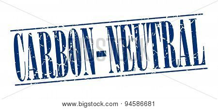 Carbon-neutral Blue Grunge Vintage Stamp Isolated On White Background