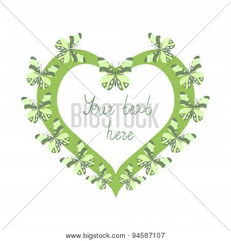 Green heart with butterflies.