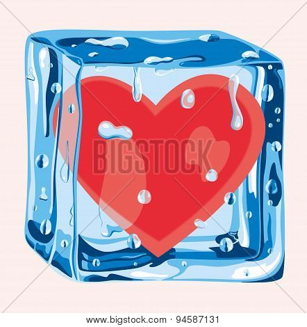 Heart in an ice cube
