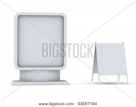 Illuminated Billboard Isolated On Pure White Background