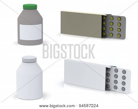 A Pack With A Plate Of Pills And A Medicine Bottle On White Background