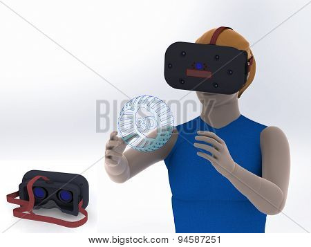 Head-mounted Display Illustration Of A Girl On White Background Virtual Reality