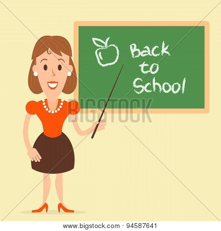 Teacher Woman Near The Board