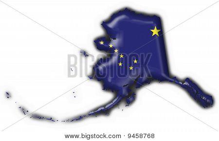Alaska (usa State) Button Flag Map Shape