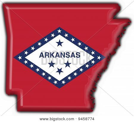 Arkansas (usa State) Button Flag Map Shape