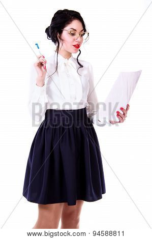 Beautiful Young Teacher Checking The Document