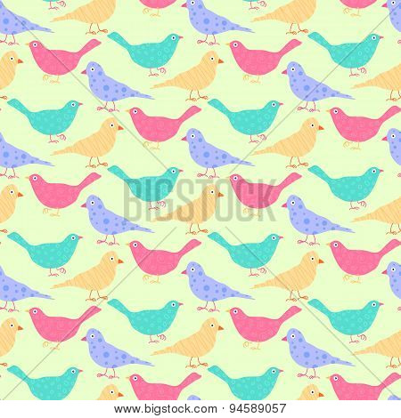 Seamless Pattern Of Different Colored Wild Birds.