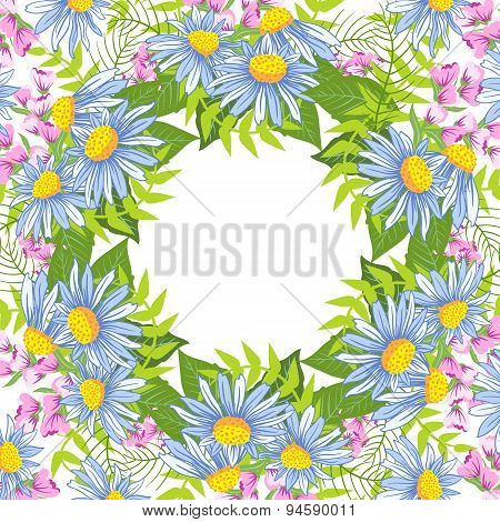 Frame With Floral Background