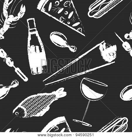 Cute seamless pattern with fast food