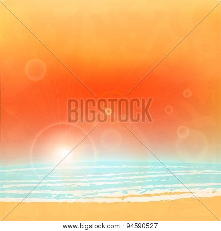 Sea sunset with bright sun, light on lens. vector.