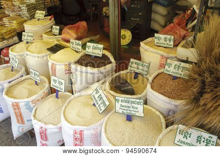 Rice In Local Market Siem Reap