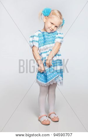 Little Girl On A White Background Shy