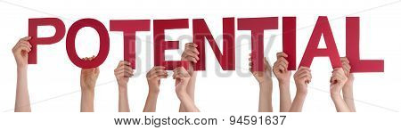 People Hands Holding Red Straight Word Potential