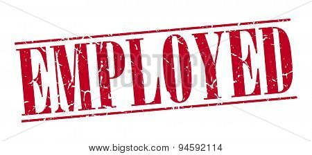 Employed Red Grunge Vintage Stamp Isolated On White Background