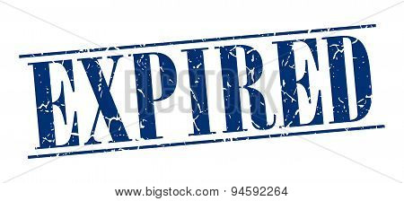 Expired Blue Grunge Vintage Stamp Isolated On White Background