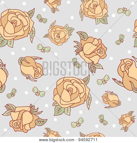 Seamless Pattern With Roses And Bows.