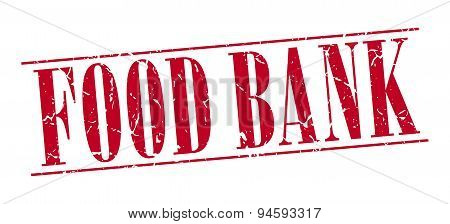 Food Bank Red Grunge Vintage Stamp Isolated On White Background