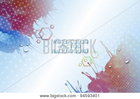 Abstract hand drawn watercolor background with empty place for text message, grunge style vector ill