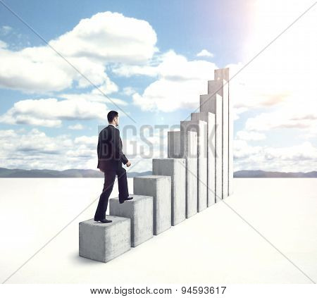 Businessman Climbing To Stairs