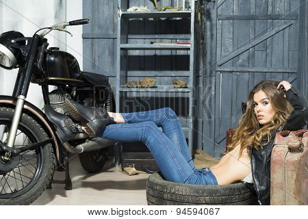 Tempting Girl In Garage