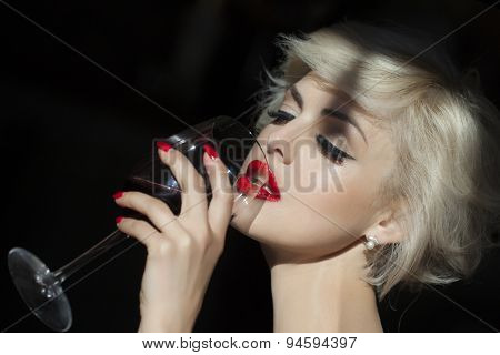 Attractive Girl With Wine