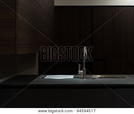 Dark Wood Kitchen Sink